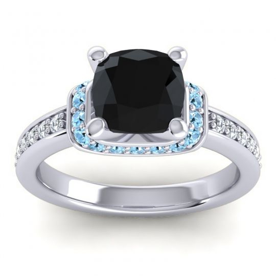 Halo Cushion Aksika Black Onyx Ring with Aquamarine and Diamond in 18k White Gold