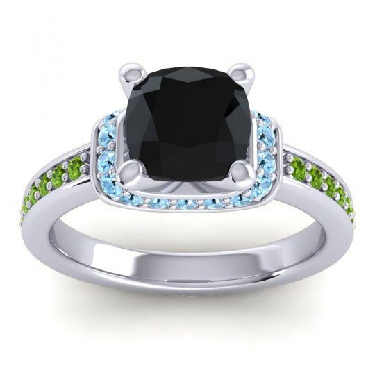 Halo Cushion Aksika Black Onyx Ring with Aquamarine and Peridot in Palladium