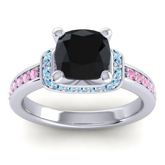 Halo Cushion Aksika Black Onyx Ring with Aquamarine and Pink Tourmaline in 18k White Gold