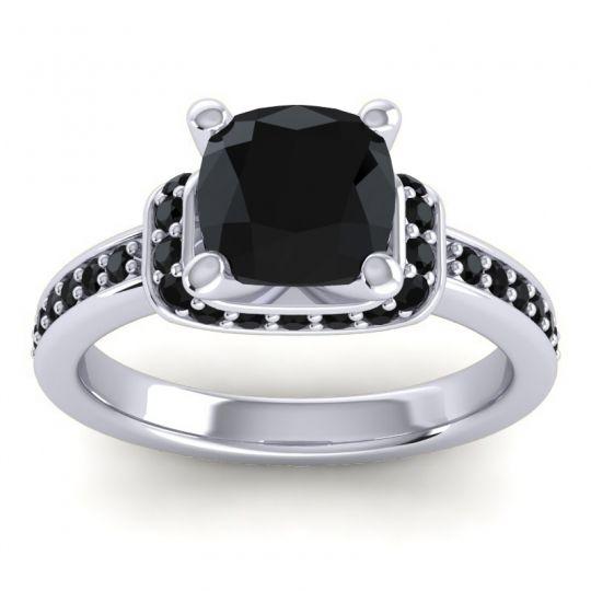 Halo Cushion Aksika Black Onyx Ring in Palladium