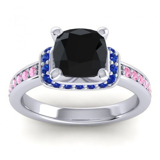 Halo Cushion Aksika Black Onyx Ring with Blue Sapphire and Pink Tourmaline in 14k White Gold