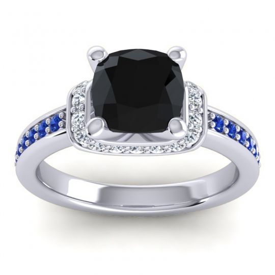 Halo Cushion Aksika Black Onyx Ring with Diamond and Blue Sapphire in Palladium