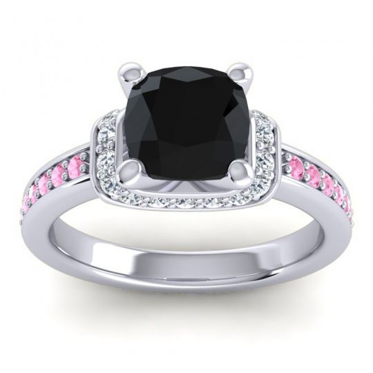 Halo Cushion Aksika Black Onyx Ring with Diamond and Pink Tourmaline in Platinum