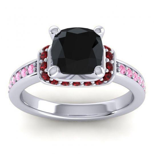 Halo Cushion Aksika Black Onyx Ring with Garnet and Pink Tourmaline in Platinum