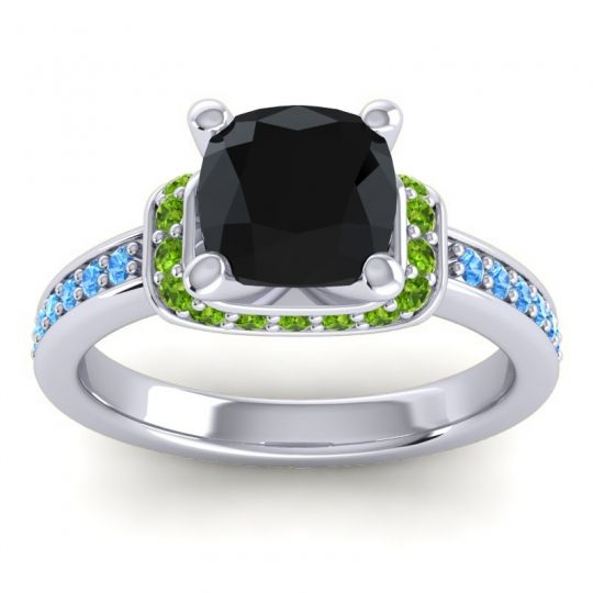Halo Cushion Aksika Black Onyx Ring with Peridot and Swiss Blue Topaz in 18k White Gold