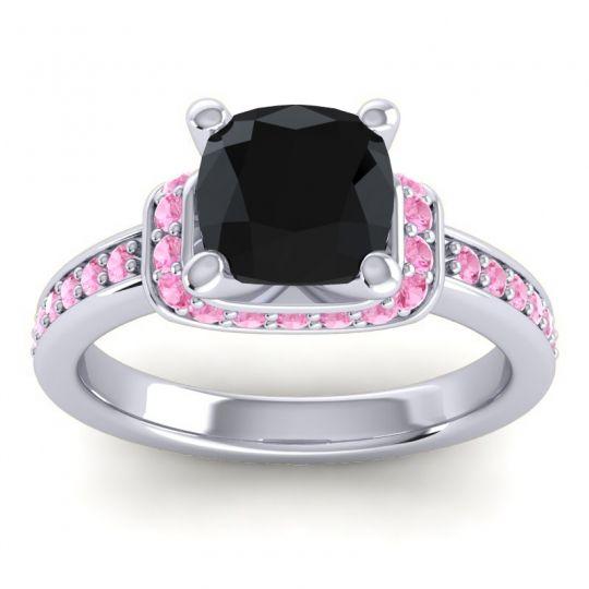 Halo Cushion Aksika Black Onyx Ring with Pink Tourmaline in Platinum