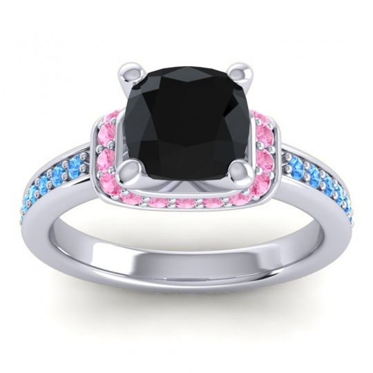 Halo Cushion Aksika Black Onyx Ring with Pink Tourmaline and Swiss Blue Topaz in 14k White Gold
