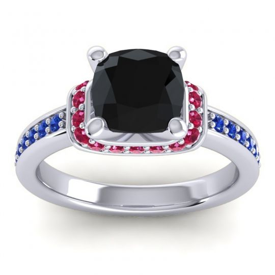 Halo Cushion Aksika Black Onyx Ring with Ruby and Blue Sapphire in 18k White Gold