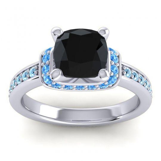 Halo Cushion Aksika Black Onyx Ring with Swiss Blue Topaz and Aquamarine in Palladium