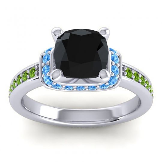 Halo Cushion Aksika Black Onyx Ring with Swiss Blue Topaz and Peridot in Palladium