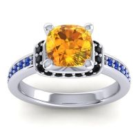 Halo Cushion Aksika Citrine Ring with Black Onyx and Blue Sapphire in Platinum
