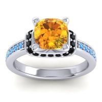 Halo Cushion Aksika Citrine Ring with Black Onyx and Swiss Blue Topaz in 18k White Gold
