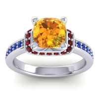 Halo Cushion Aksika Citrine Ring with Garnet and Blue Sapphire in 14k White Gold
