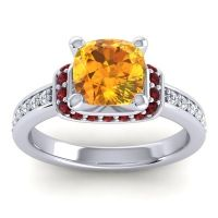 Halo Cushion Aksika Citrine Ring with Garnet and Diamond in 14k White Gold