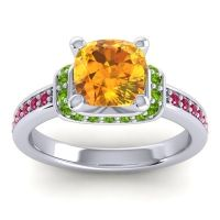 Halo Cushion Aksika Citrine Ring with Peridot and Ruby in 18k White Gold