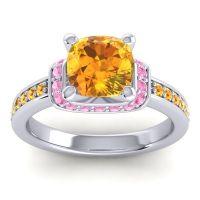 Halo Cushion Aksika Citrine Ring with Pink Tourmaline in Palladium