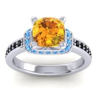 Halo Cushion Aksika Citrine Ring with Swiss Blue Topaz and Black Onyx in 18k White Gold