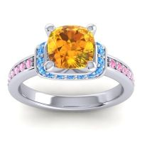 Halo Cushion Aksika Citrine Ring with Swiss Blue Topaz and Pink Tourmaline in Platinum