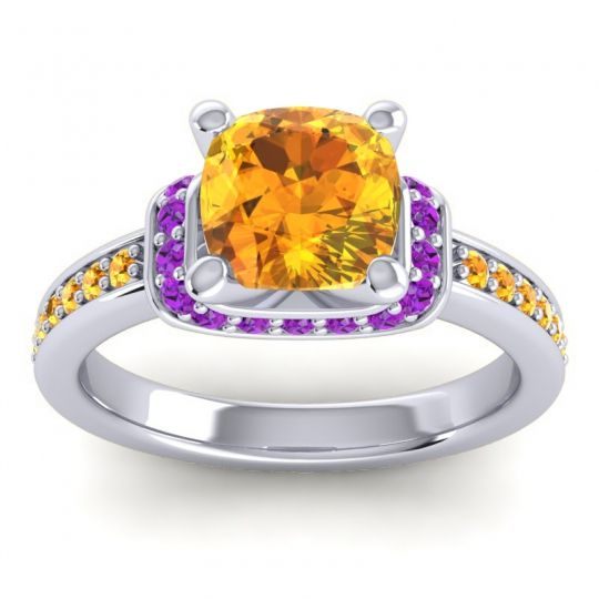 Halo Cushion Aksika Citrine Ring with Amethyst in 14k White Gold