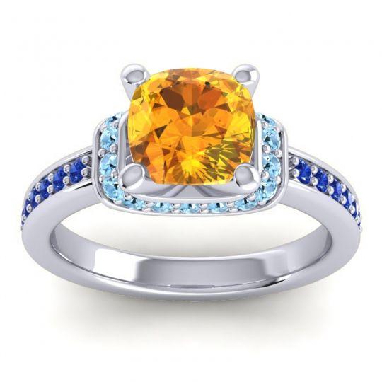 Halo Cushion Aksika Citrine Ring with Aquamarine and Blue Sapphire in Platinum