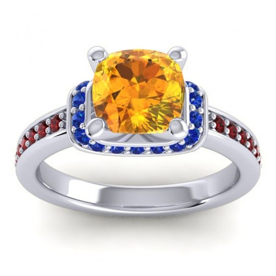 Halo Cushion Aksika Citrine Ring with Blue Sapphire and Garnet in Palladium