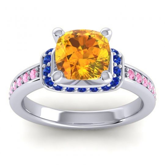 Halo Cushion Aksika Citrine Ring with Blue Sapphire and Pink Tourmaline in 14k White Gold