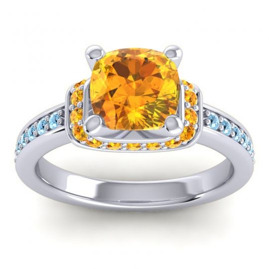 Halo Cushion Aksika Citrine Ring with Aquamarine in 14k White Gold