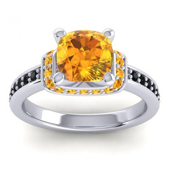 Halo Cushion Aksika Citrine Ring with Black Onyx in 14k White Gold