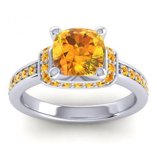 Halo Cushion Aksika Citrine Ring in Palladium