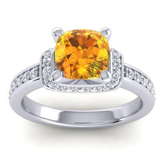 Halo Cushion Aksika Citrine Ring with Diamond in Platinum