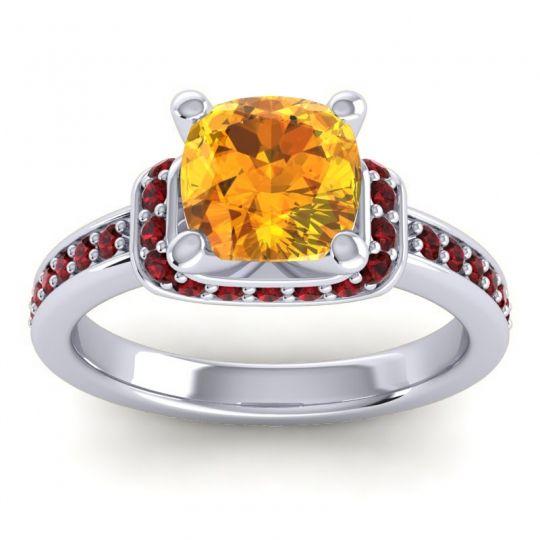 Halo Cushion Aksika Citrine Ring with Garnet in Platinum