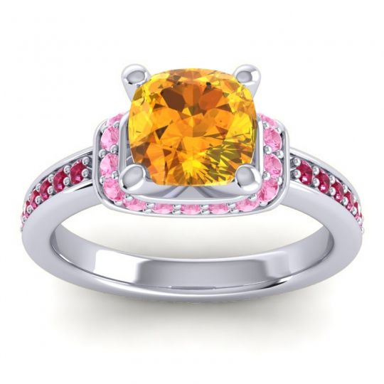 Halo Cushion Aksika Citrine Ring with Pink Tourmaline and Ruby in Platinum
