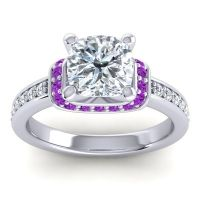 Halo Cushion Aksika Diamond Ring with Amethyst in 14k White Gold
