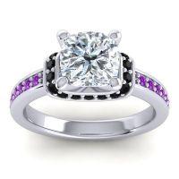 Halo Cushion Aksika Diamond Ring with Black Onyx and Amethyst in Palladium