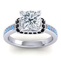 Halo Cushion Aksika Diamond Ring with Black Onyx and Swiss Blue Topaz in Platinum