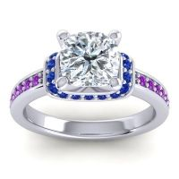 Halo Cushion Aksika Diamond Ring with Blue Sapphire and Amethyst in 14k White Gold
