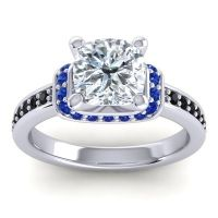 Halo Cushion Aksika Diamond Ring with Blue Sapphire and Black Onyx in 14k White Gold