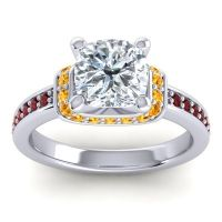 Halo Cushion Aksika Diamond Ring with Citrine and Garnet in Platinum