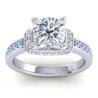 Halo Cushion Aksika Diamond Ring with Aquamarine in 18k White Gold