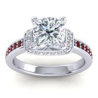 Halo Cushion Aksika Diamond Ring with Garnet in Platinum