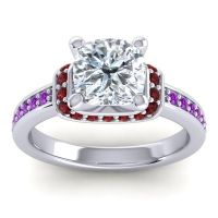 Halo Cushion Aksika Diamond Ring with Garnet and Amethyst in Palladium