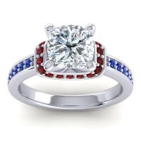 Halo Cushion Aksika Diamond Ring with Garnet and Blue Sapphire in 18k White Gold