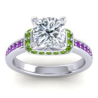 Halo Cushion Aksika Diamond Ring with Peridot and Amethyst in Platinum