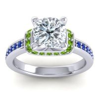 Halo Cushion Aksika Diamond Ring with Peridot and Blue Sapphire in 14k White Gold
