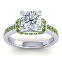 Halo Cushion Aksika Diamond Ring with Peridot in Palladium