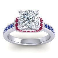Halo Cushion Aksika Diamond Ring with Ruby and Blue Sapphire in 14k White Gold