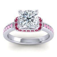 Halo Cushion Aksika Diamond Ring with Ruby and Pink Tourmaline in Palladium