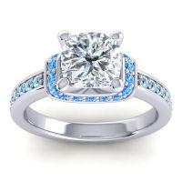Halo Cushion Aksika Diamond Ring with Swiss Blue Topaz and Aquamarine in Palladium