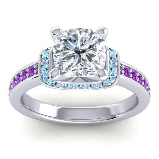 Halo Cushion Aksika Diamond Ring with Aquamarine and Amethyst in Palladium
