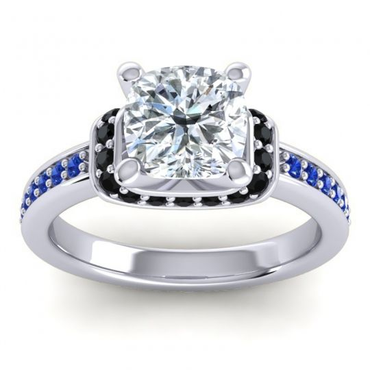 Halo Cushion Aksika Diamond Ring with Black Onyx and Blue Sapphire in 14k White Gold